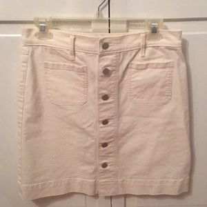 Loft White Blue Jean Skirt size 6